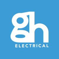 gh electrical logo stacked on blue background